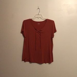 Rust-colored Short Sleeve Top